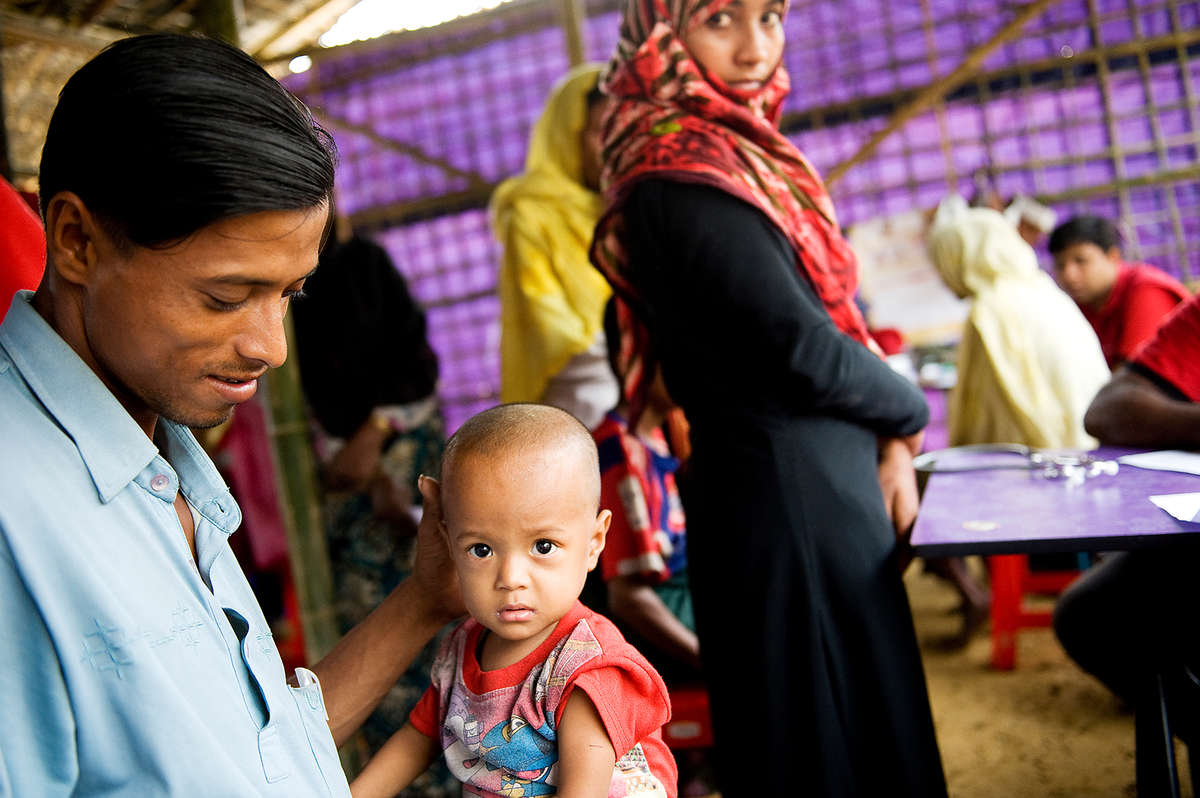 Meet baby Shafiq,* 18 months, here being screened and later treated for malnutrition in Bangladesh. *Name changed for child's protection.