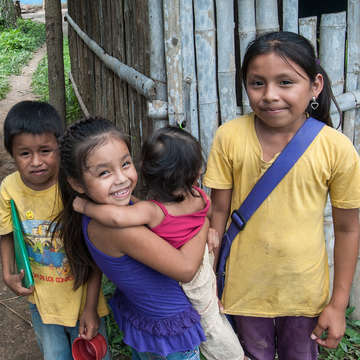 Bolivian children gather outside a Save the Children-sponsored learning center in San Ignacio de Mojos, Bolivia. Photo credit: Susan Warner/Save the Children, March 2016.