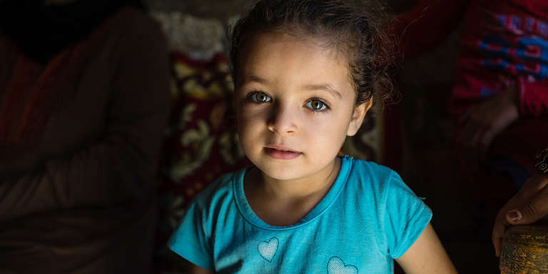 A 3-year-old girl named Basmla, in her uncle's home in Egypt. Photo credit: Victoria Zegler/Save the Children, December 2017.