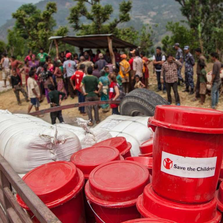 Save the Children's teams deliver much needed aid to outlying areas of the Dolakha District in Nepal. 2015 - Rajan Zaveri.