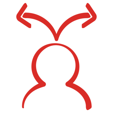 Icon of a person with two opposing arrows coming from the top of their head. Indicates our work in integrating skill sets for youths. Image credit: Save the Children, 2017.