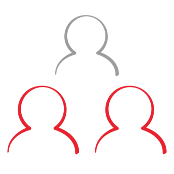 Icon of three people, two are red and one is gray. Representative of our work promoting youth participation and encouraging youths to practice real-life work skills. Image credit: Save the Children, 2017.