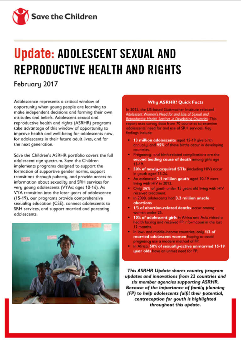 Adolescent Sexual and Reprodtive Health and Rights Update
