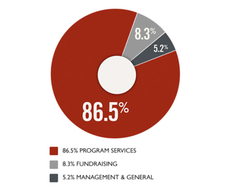 Save the Children uses over 85% of funds to support program services