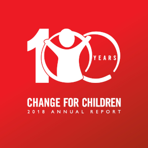 Save the Children's 100-year centenary logo as seen on the cover of the 2018 Annual Report: Change for Children