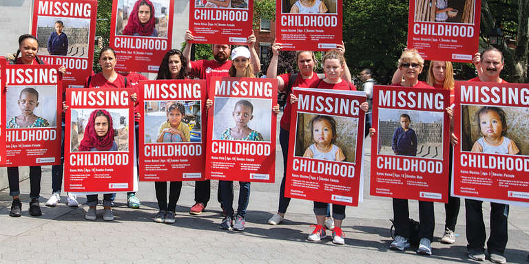 A group of Save the Children supports rally in New York to advocate for missing children around the world. Photo credit: Save the Children 2019.