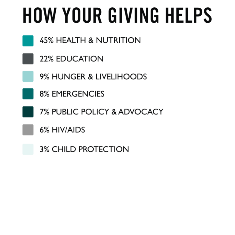 How your giving helps bullet point graphic