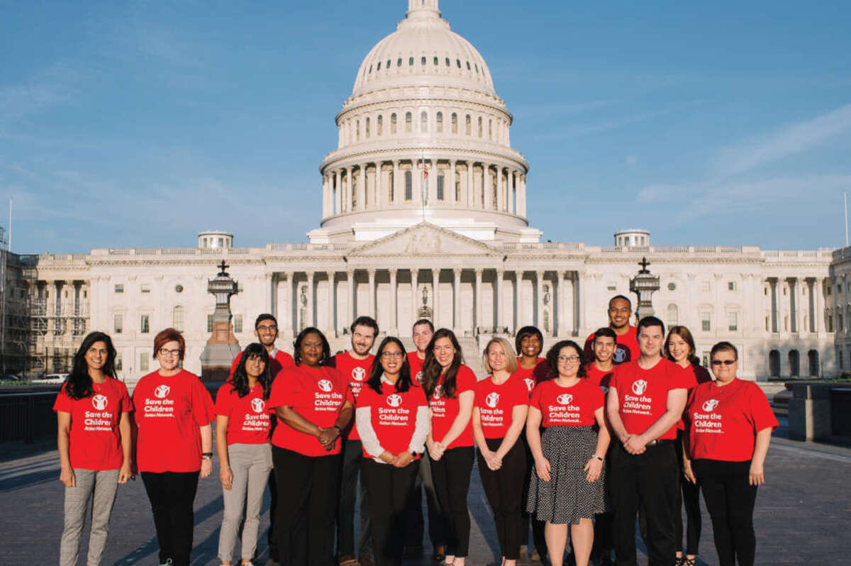 A group of Save the Children advocates poses in front of the capital building in Washington D.C. Photo credit: Rachel Couch/Save the Children 2019.