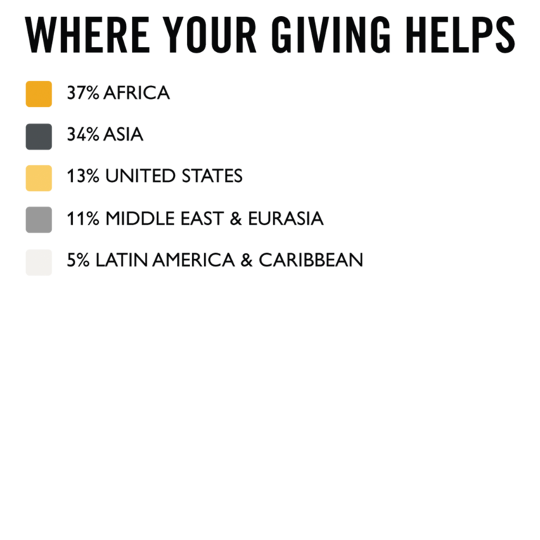 Where your giving helps bullet point graphic