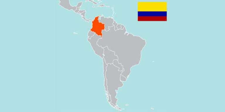 A map of Colombia with the Colombian Flag