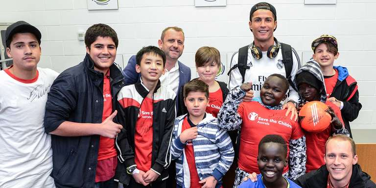 Real Madrid soccer star Cristiano Ronaldo lends his voice and visibility to spotlight issues facing child refugees and all vulnerable children around the globe. Photo Credit: Save the Children 2017.