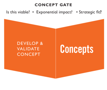 Concept gate: Experts develop and validate concepts, asking critical questions such as is this viable? Is there exponential impact? Does this fit strategically?