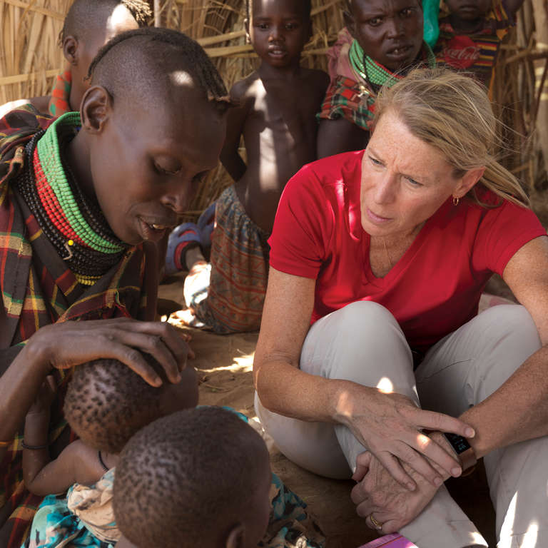 Carolyn travels the globe to assess children's needs and deliver the lifesaving work you so generously support. Here she hears stories of mothers and children struggling to survive during devastating drought in Kenya. Photo credit: Save the Children/Peter Caton 2017.
