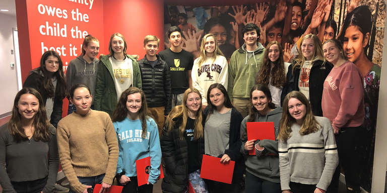 Photo of Fairfield County Leadership Youth Council members in Save the Children's Connecticut office.