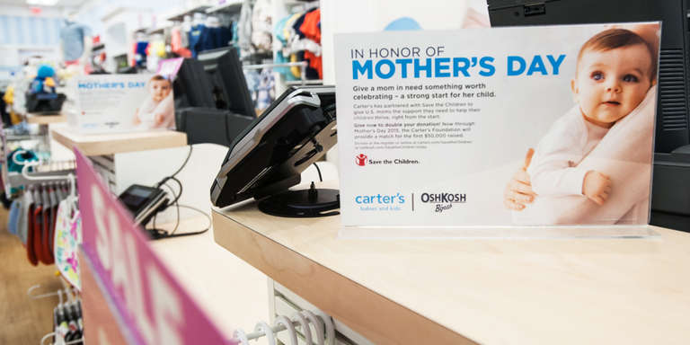 Carter's has supported mothers to ensure that their children get a healthy start through an annual at register campaign.
