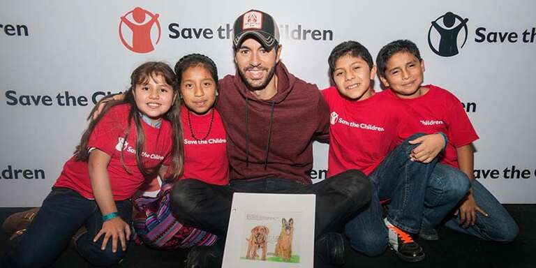 Grammy Award-winning artist Enrique Iglesias has teamed up with Save the Children to raise awareness and funds to provide immediate relief to children after natural disasters and has visited with kids, parents and staff from our programs in the U.S., Guatemala and Mexico.