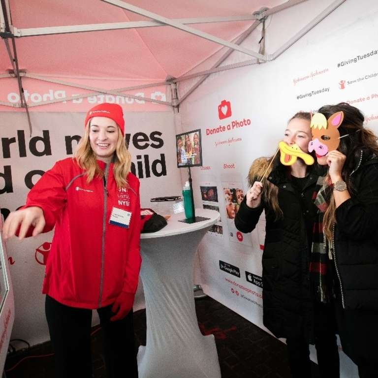 A donated a photo from a photo booth at a Save the Children event in NYC for Giving Tuesday. Photo credit: Save the Children 2016.