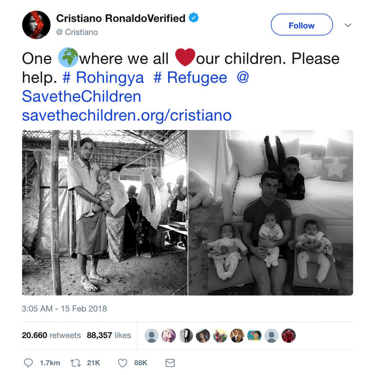 Twitter post by football star Cristiano Ronaldo who is supporting Save the Children's Rohingya humanitarian response by urging people to help refugee children who have fled violence in Myanmar and are now living in camps and makeshift settlements in Bangladesh. February 15, 2018.