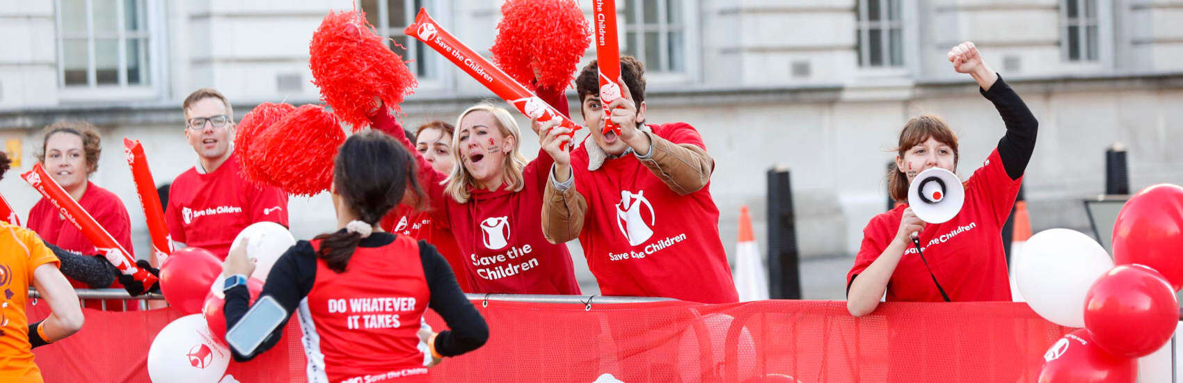 Volunteers do Whatever it Takes to Save Children, running for Save the Children in the Royal Parks Half Marathon