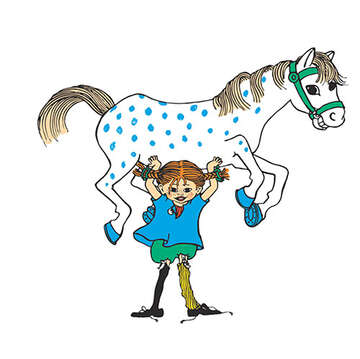 Pippi and Horse Cartoon
