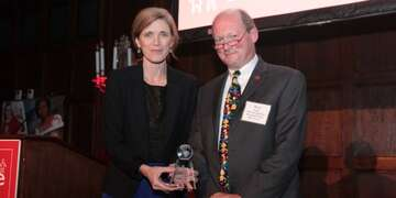 Samantha Power, left Former United Nations Ambassador receives the Refugee Advocate award from and Brad Irwin, right Save the Children Board Chair, at the Save the Children Boston Leadership Council's Second Annual Gala on Friday, November 15, 2019, at the Harvard Club of Boston.