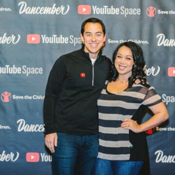 Judy and Benji Travis pose for a photograph at #Dancember. #Dancemberis a LIVE annual fundraiser where Judy and Benji Travis challenge their YouTube friends, fans and online community to dance and donate to help make the future for kids better. Photo credit: Save the Children 2020.