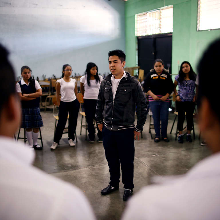 Students participate for the first time in a peace-building workshop at the Instituto Maya, Zone 18, Guatemala City, Guatemala. Photo credit: Save the Children