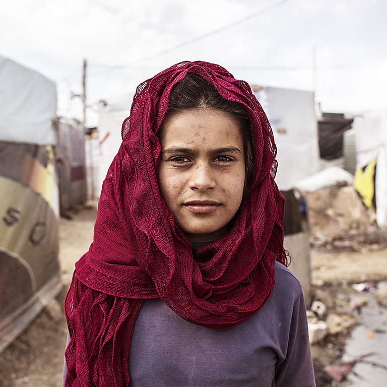 A 12-year-old Syrian girl, in the Anjar Refugee camp in Lebanon. Save the Children offers programs in the camp to help keep refugee children healthy, educated and safe.