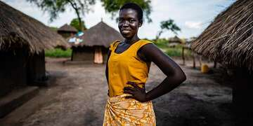 A girl in front of at her home in Bidi Bidi Refugee settlement in Northern Uganda