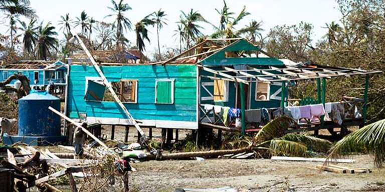 A home in Nicaragua is badly damaged following Hurricane Eta.
