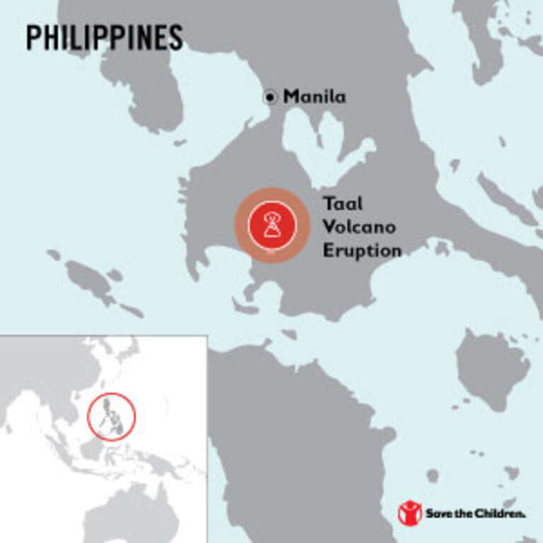 Map of the location of the Taal Volcano near Manila, Philippines.