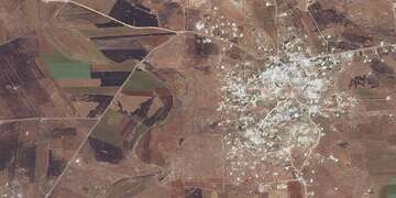 Satellite image of southern Idlib shows destruction of a result aerial bombardment.