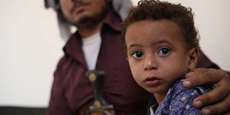 Hamdi*, 2, was brought to the health clinic supported by Save the Children by his father, Saleh*, 22, where he received urgent treatment for malnutrition.