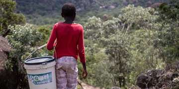 A girl in a red shirt and pink pants holds a bucket of water while looking out into a forest in Zimbabwe.