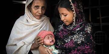 Four week-old Ismil* was born in a makeshift settlement for displaced Rohingya people in Cox's Bazar, Bangladesh.