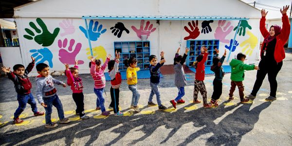 Children play in a child friendly space in Za'atari refugee camp in Jordan.