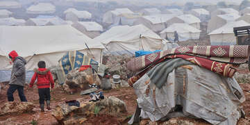 Due to the escalation of violence in North West Syria, several families from the eastern countryside of Marat Al Numan were forcibly displaced and are now living in a displacement camp.
