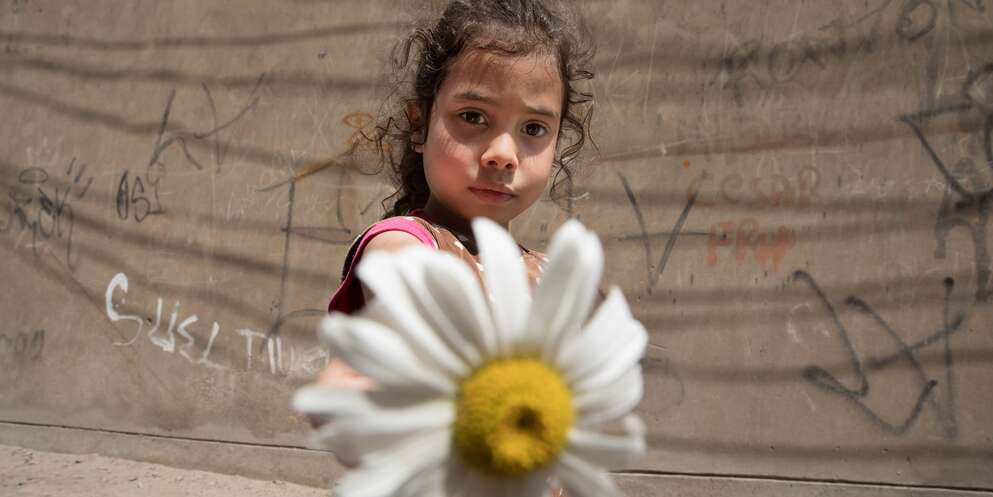 A 5-year old girl plays with a daisy outside in Peru after fleeing her home in Venezuela.