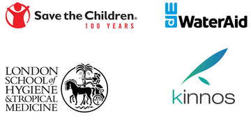 The logos of four organizations, including Save the Children, WaterAid, London School of Hygiene & Tropical Medicine and Kinnos, behind a new innovation named BASICS (Bold Action to Stop Infections in Clinical Settings).