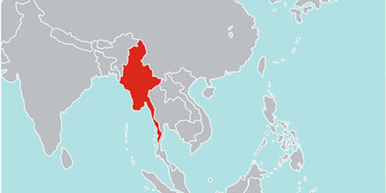 A map of southeast Asia. Myanmar is filled in red.