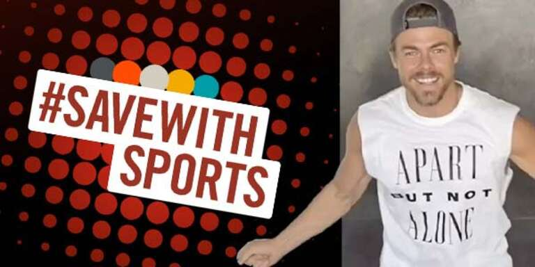 #SaveWithSports graphic with Derek Hough