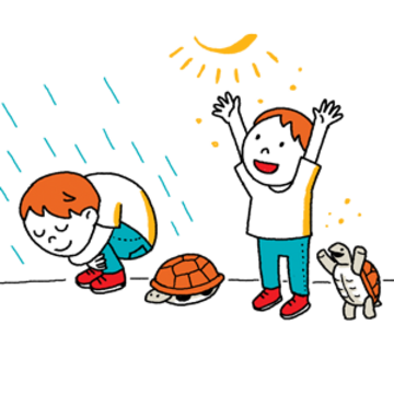 Child and turtle activity graphic