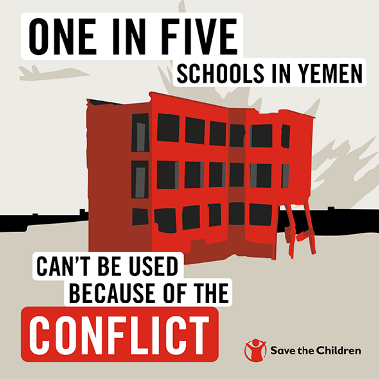 Yemen schools in conflict graphic