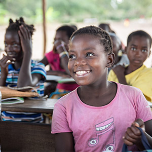 Children at school in Mozambique continue their education after cyclone Idai.