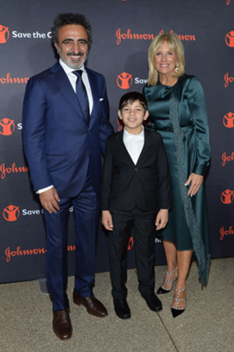 Chobani Founder and CEO Hamdi Ulukaya, Syrian Refugee and Save the Children beneficiary Mahmoud Aloqla, and Save the Children Board Chair Dr. Jill Biden attends the 5th Annual Save the Children Illumination Gala at the American Museum of Natural History on October 18, 2017 in New York City. (Photo by Noam Galai/Getty Images for Save The Children