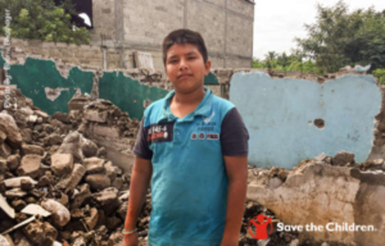 Armando, 12, and his grandfather (not pictured) are now homeless after their house was reduced to rubble by the one of the Mexican earthquakes.