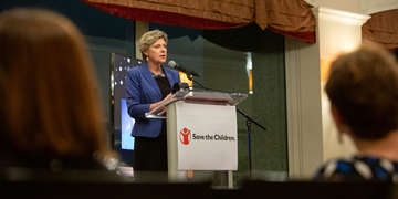 Renowned author, journalist and commentator Cokie Roberts of ABC News and NPR speaks at Save the Children's Boston Leadership Council Benefit at the Downtown Harvard Club in Boston on November 2, 2018. (Photo by Casey Atkins for Save the Children)