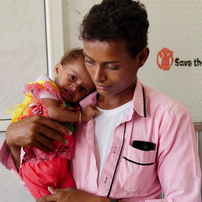 10-month-old Amara* is receiving treatment for severe acute malnutrition at a Save the Children-supported health facility in Yemen. Photo credit: Claire Nicoll/Save the Children