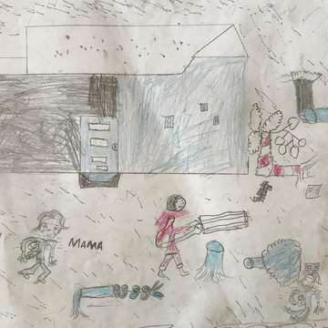 Ten-year-old Faizal drew this picture depicting his home after Cyclone Idai hit his community in March 2019. Save the Children is supporting children and their families in the worst-hit areas of Mozambique. Credit: Sacha Myers/Save the Children.