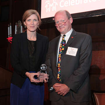 Samantha Power and Brad Irwin standing together at a Boston Leadership Council event.